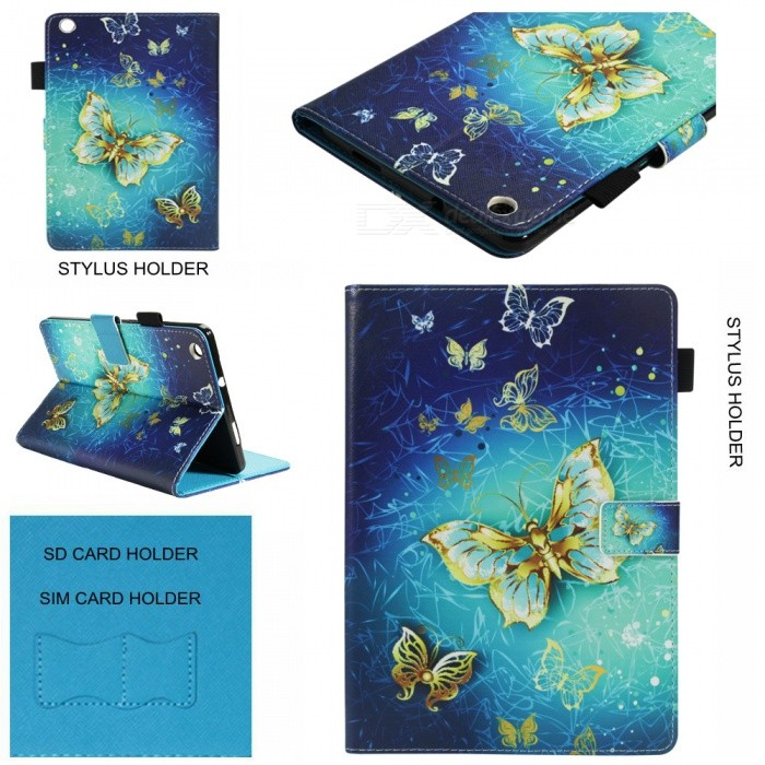 Measy Painting Protective Cover, Folio Premium PU Leather Stand Smart Shell for Huawei MediaPad M3 Lite 8.0 Inch