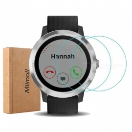 Miimall 2PCS Premium HD Clear 9H Hardness Tempered Glass Screen Protector Films for Garmin Vivoactive 3 Smart Watch
