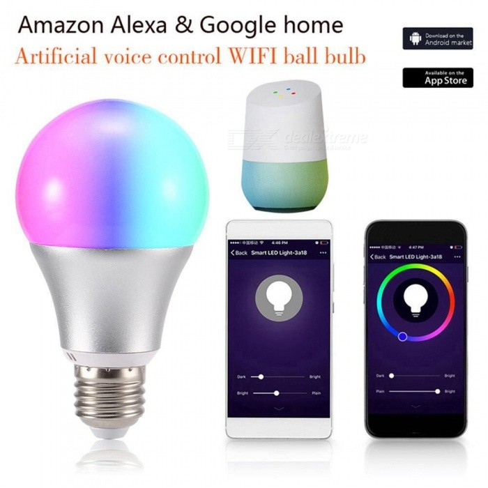 E26 Wi-Fi Remote Control LED Bulb, 11W RGBW Color Smart Light Bulb, Works With Amazon Alexa / Google Home RGB/11w/Yes