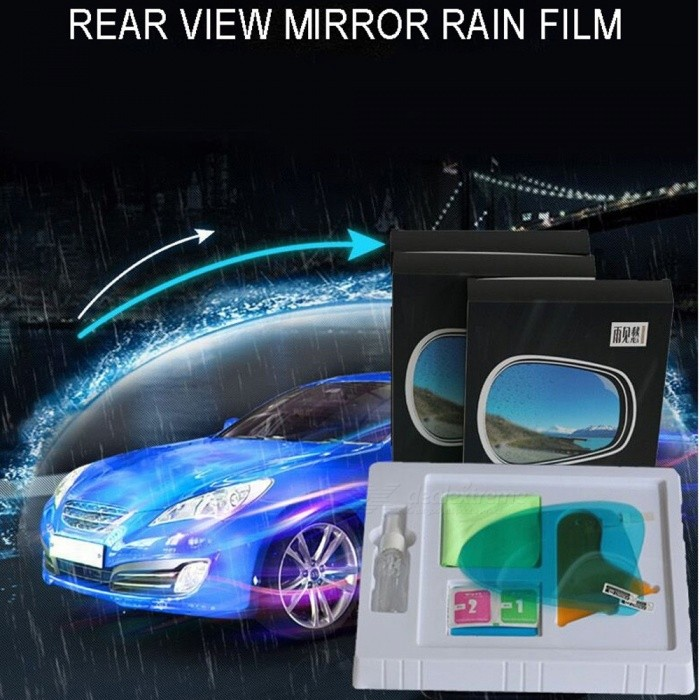 2Pcs 100*145mm Oval Waterproof Rainproof Anti Fog Anti-glare Clear Car Rearview Mirror Protective Film Stickers Multi
