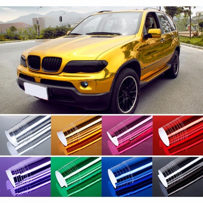 152*20cm Waterproof Car Sticker, Mirror Plating Chrome Electroplate Vinyl Car Wrap Foil Decal Film For Decoration Gold