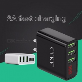 CYKE Universal 3 USB Port Fast Travel Charger, Power Adapter With LCD Digital Display White/EU