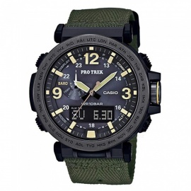 Casio-Protrek-PRG-600YB-3-Triple-Sensor-Version-3-Cloth-Band-Watch-Green