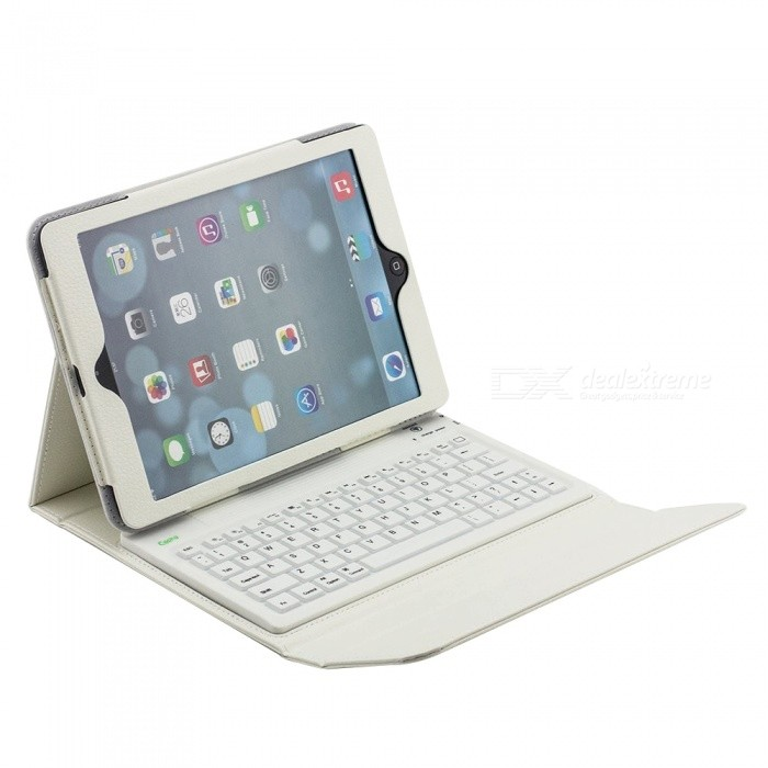 Cooho-Bluetooth-Keyboard-Case-for-IPad-Air12Pro97-PU2b-Silicone-White