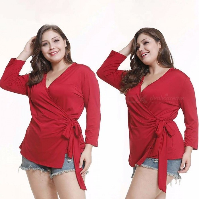 821b03832b16a2 Sexy Women\'s Solid Casual Long Sleeve T Shirt V Neck Crossed Straps Slim  Tops Basic Plus Size Wild Shirts For Women Red/L