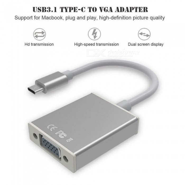 ZHAOYAO USB3.1 Type C (mannlig) Til Vga (kvinnelig) HDTV 1080P Adapter For Apple Macbook Series Chromebook Pixel Og Mer - Sølv