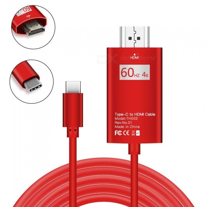 ZHAOYAO-2M-USB31-Type-C-to-HDMI-4K-60Hz-HDTV-Data-Transmission-Cable-Red