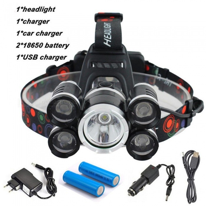 AIBBER TONE 40000 Lumen Headlamp, 5 CREE XML T6+Q5 LED Head Lamp Flashlight Torch Lanterna with Battery, AC/DC Charger