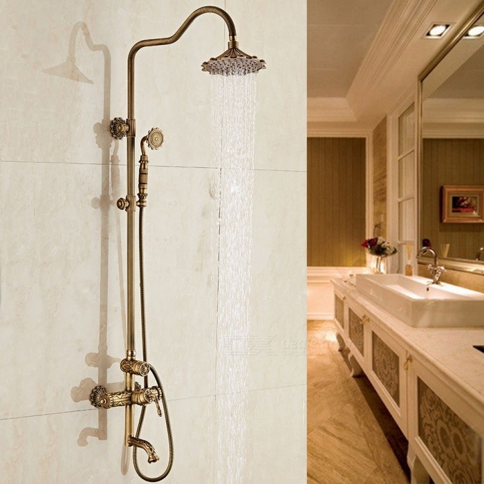 Hotel Luxury Series Wall Mounted Antique Brass Bath Shower Faucet