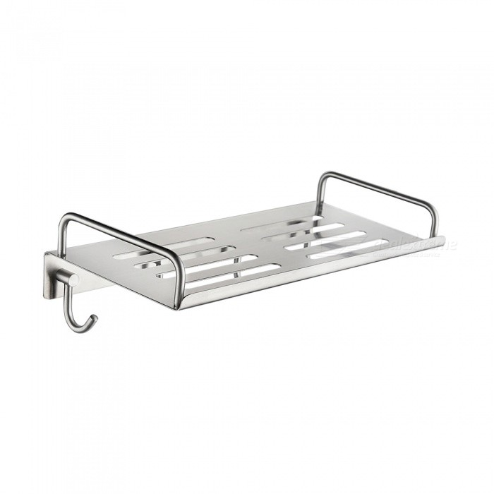 SBH186-30cm-Stainless-Steel-Nickel-Self-adhesive-Kitchen-Rack-with-4Pcs-Hooks