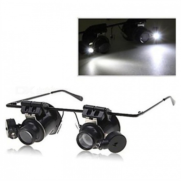 OJADE 20X Glasses Type Single Eye Binocular Magnifier Watch Repair Tool Magnifier with Two Adjustable LED Lights