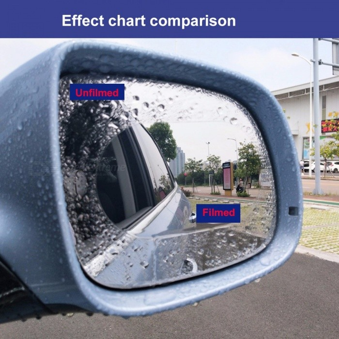1 Pair 100mm Roundness Car Rearview Mirror Membrane Window Glass Mirrors Rainproof Anti-fog Sticker With Wrapping Tool Multi