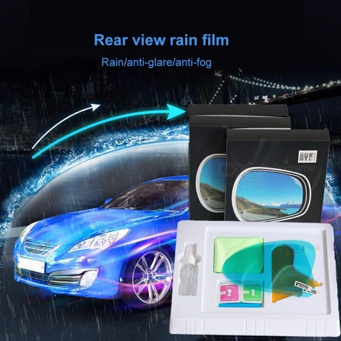 1 Pair 200*160mm Oval Car Rearview Mirror Membrane Window Glass Mirrors Rainproof Anti-fog Sticker With Wrapping Tool Multi