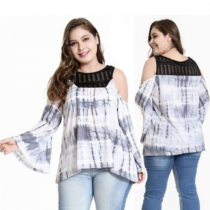 Women's Plus Size T Shirt Lace Casual O-Neck Long Flare Sleeve Ink Printed Tops Shirts For Women White/XL