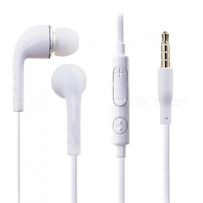 S4 Portable Lightweight 3.5mm Wired In-Ear Earphone Earbuds With Mic And Volume Control For Daily Use White