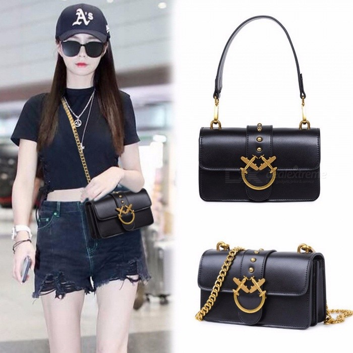 New-Chain-Small-Square-Package-Handbags-Fashion-Trend-Rivets-Bag-Lock-Messenger-Bags-For-Women-Black