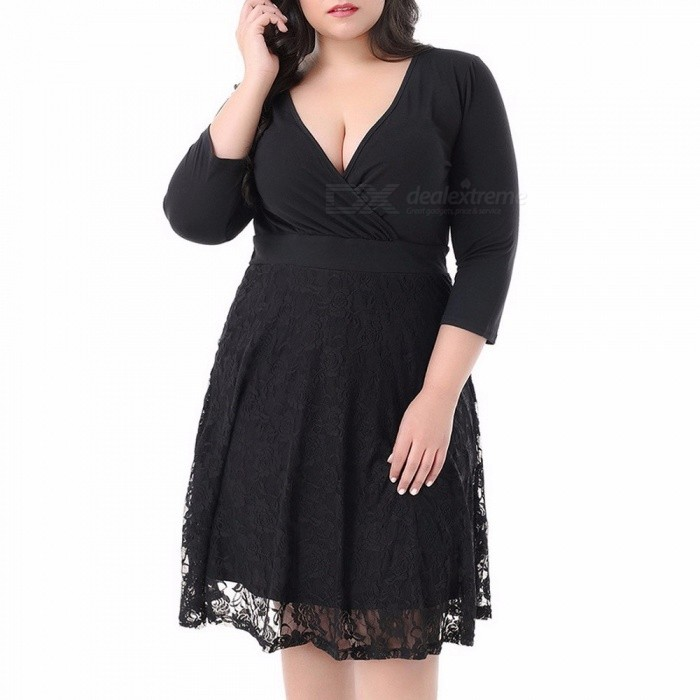 Fashion Deep V Neck Lace Patching Three Quarter Sleeve Dress For