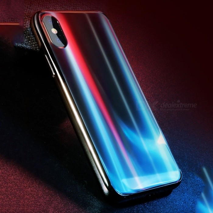 1e89d9dd0c9662 BASEUS Full Coverage Aurora Dazzling Color TPU Soft Case, Protective Back  Cover For IPHONE X Gold/PC + TPU