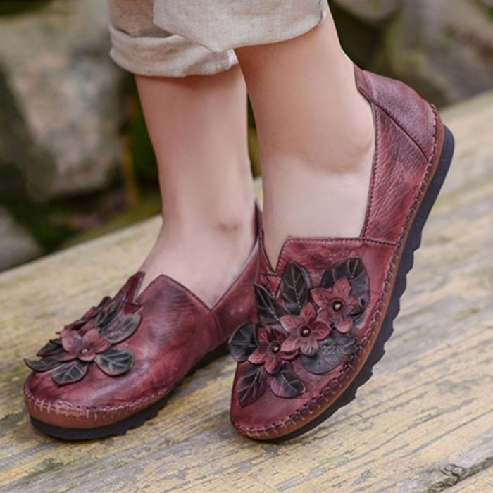 Pastoral Style Casual Leather Peas Shoes, Handmade Floral Women Slip-On Shoes Loafers Moccasins, Girls\' Flats Wine Red/40