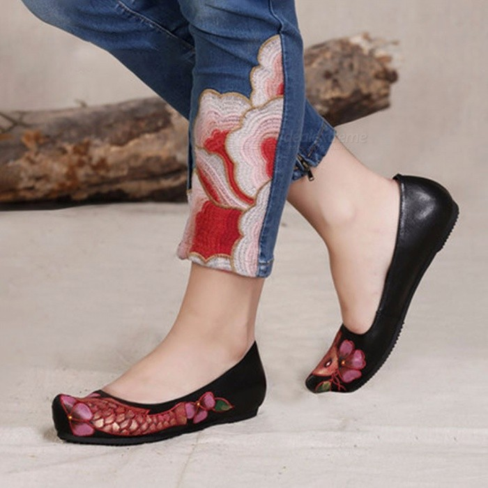 National-Wind-Style-Casual-Leather-Flat-Shoes-Handmade-Embroidery-Print-Women-Slip-On-Nude-Shoes-Loafers-Moccasins-Black40