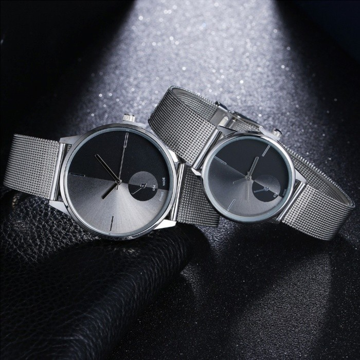 Simple Fashion Quartz Watch With Mesh Stainless Steel Strap For Couple Men Women Silver