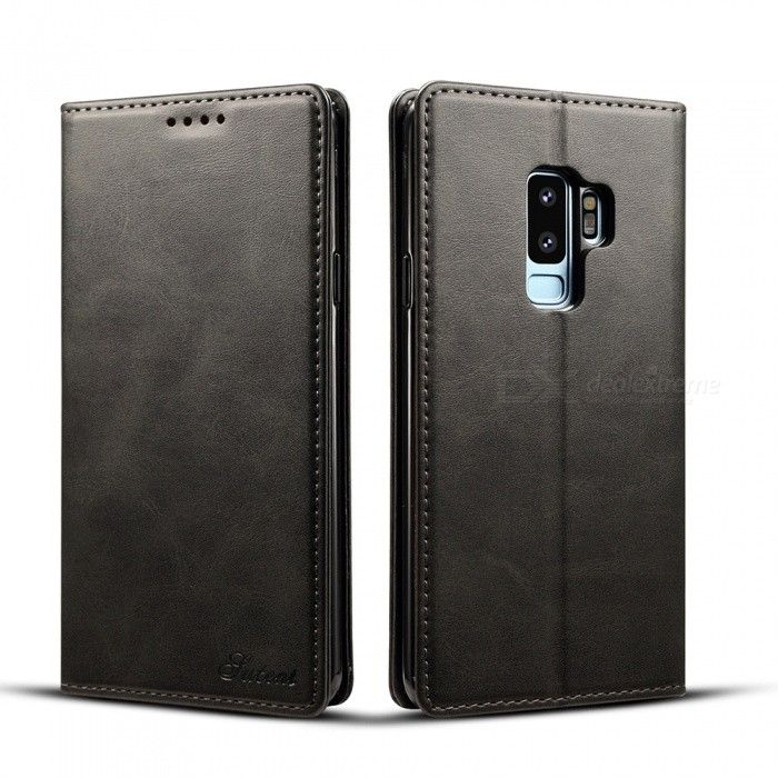 Measy Leather Wallet Phone Case with Card Holder Kickstand Protective Folio Flip Cover for Samsung Galaxy S9 Plus - Black