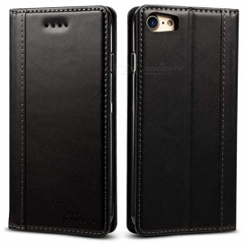 Genuine-Leather-Wallet-Case-with-Kickstand-Card-Slots-Magnetic-Closure-TPU-Shockproof-Case-for-IPHONE-78-Black
