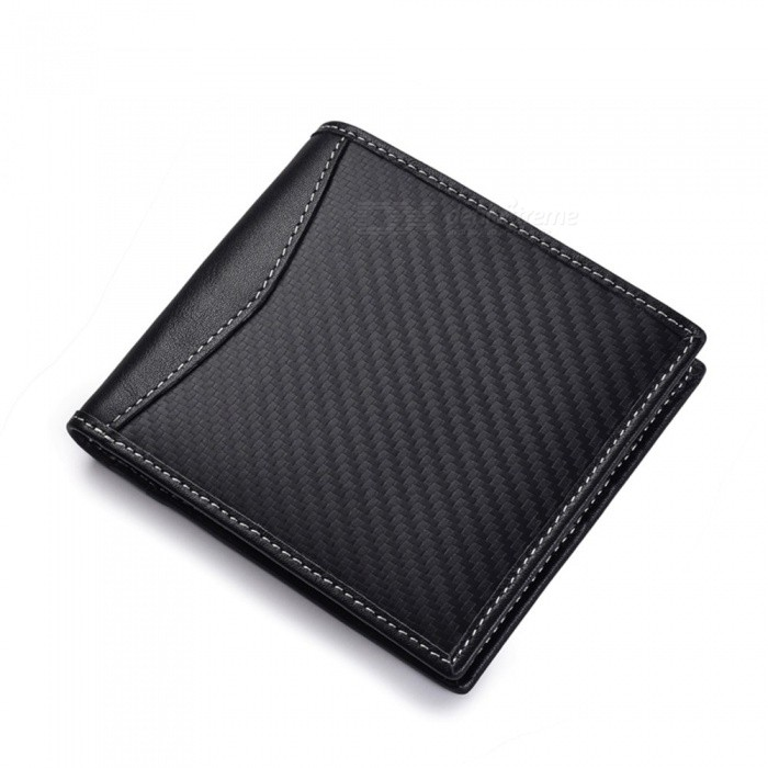 JIN BAO LAI Carbon Fiber RFID Blocking Genuine Leather Men's Wallet, Male Card Holder Purse with Coin Pocket