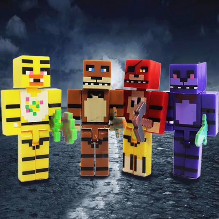 2.8inch Five Night's Freddy Plastic Dolls Weapons Building Blocks Educational Toys Kids Multicolor