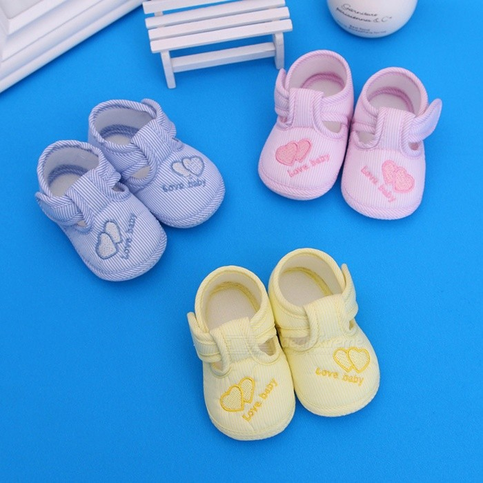 62a0b8b3639c7 Heart Print Cute Cotton Fabric Baby Boys Girls First Walker Shoes ...
