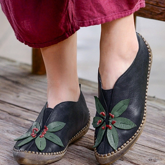 Handmade-Retro-Genuine-Leather-Womens-Shoes-Floral-Print-Round-Toe-Shallow-Comfortable-Mary-Janes-Thin-Shoes-For-Women-Black40