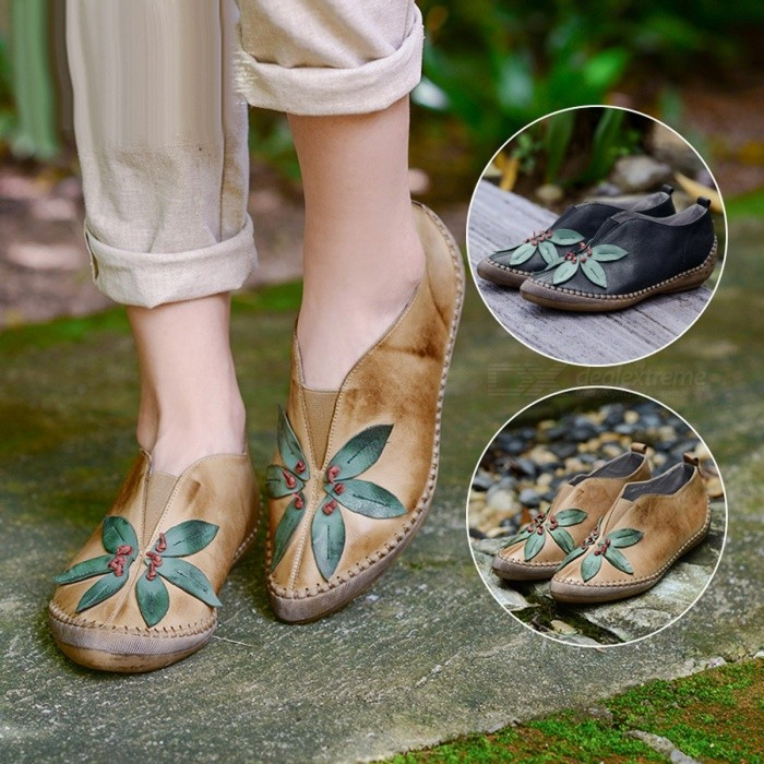 Handmade-Retro-Genuine-Leather-Womens-Shoes-Floral-Print-Round-Toe-Shallow-Comfortable-Mary-Janes-Thin-Shoes-For-Women-Khaki40