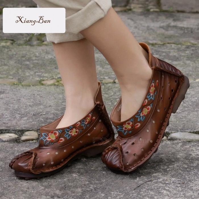 National-Embroider-Retro-Flowers-Decorated-Top-Leather-Women-Shoes-Casual-Comfortable-Hole-Boat-Shoes-For-Women-Brown40