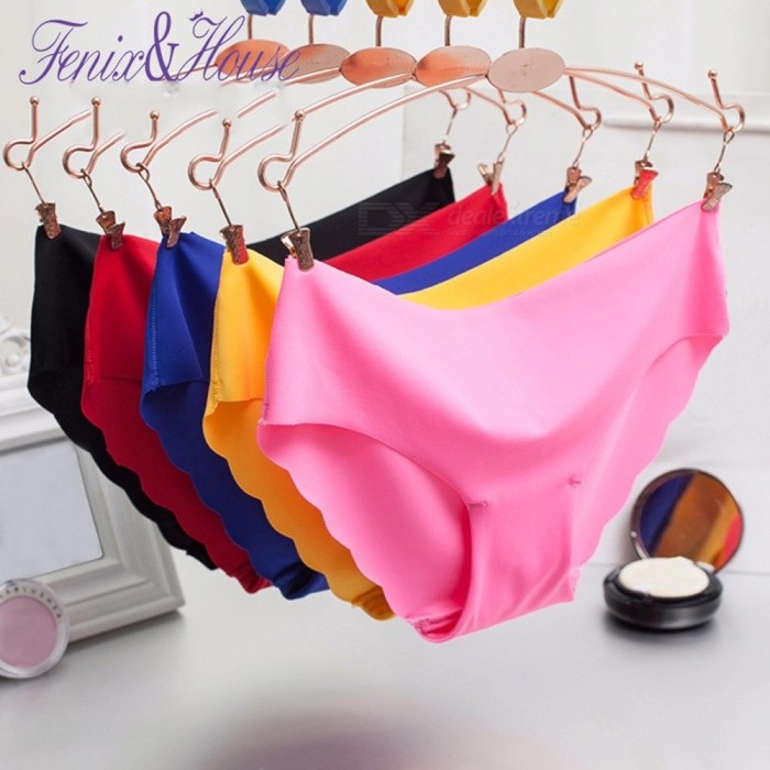 e3a03adc6516 1 PCS Women Seamless Solid Panties Ladies Sexy Wave Edge Soft Lingerie  Briefs Low Waist Knickers For Women Yellow/M