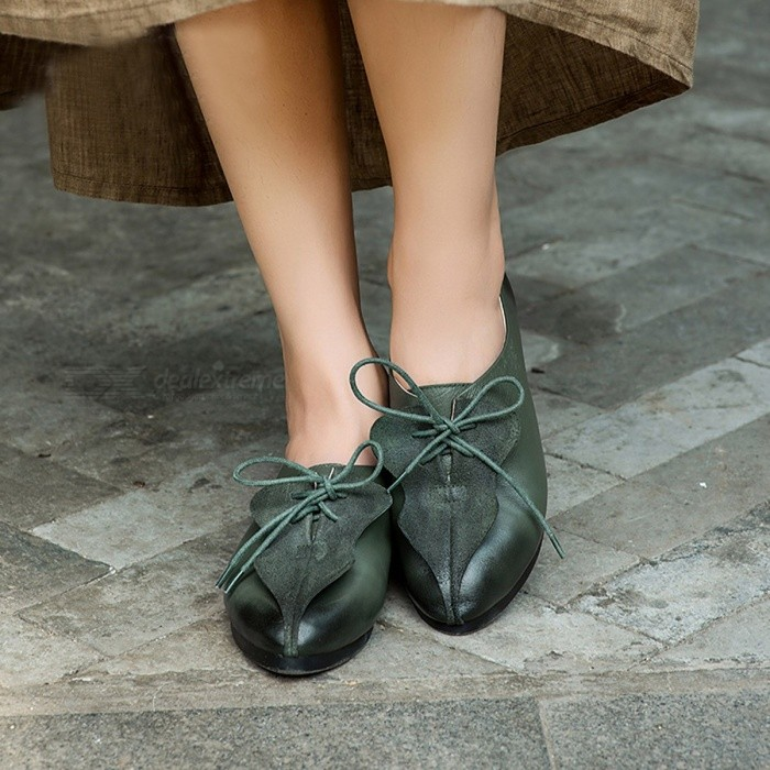 Spring-Autumn-Top-Cow-Leather-Women-Shoes-Casual-Comfortable-Pointed-Toe-Lace-Up-Flat-Shoes-For-Women-Army-Green40