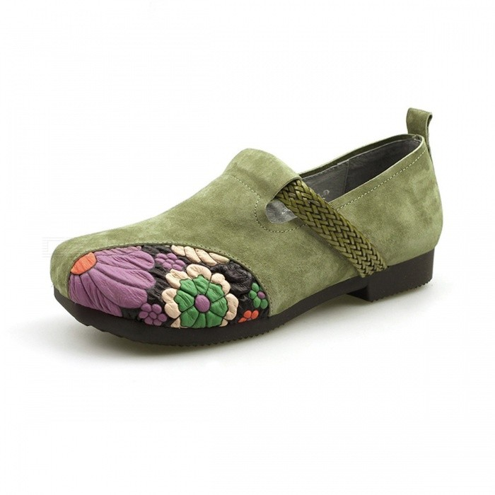 Retro-Handmade-Flowers-Print-Top-Leather-Women-Shoes-Moccasins-Casual-Round-Toe-Slip-On-Flat-Shoes-For-Women-Army-Green40