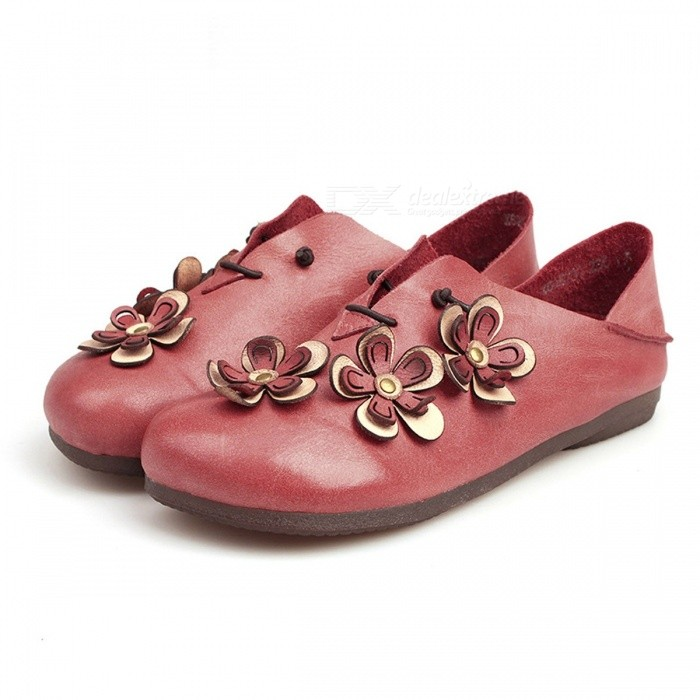 Retro-Flowers-Decorated-Top-Leather-Women-Shoes-Moccasins-Casual-Comfortable-Round-Toe-Slip-On-Flat-Shoes-For-Women-Red40