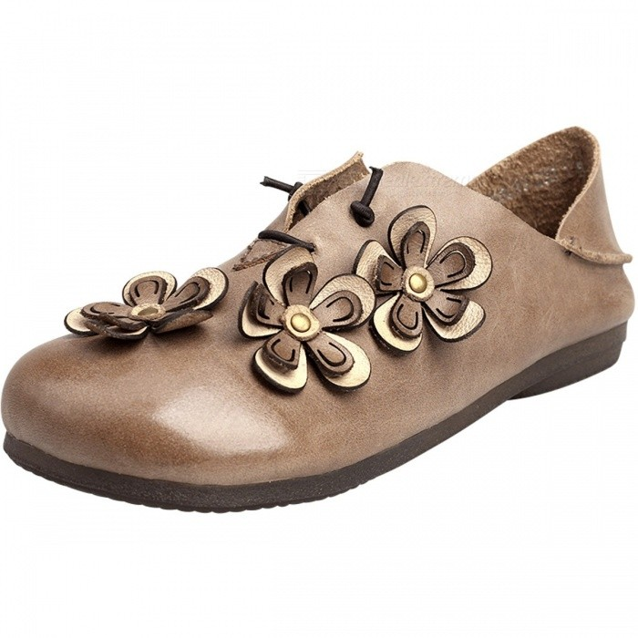 Retro-Flowers-Decorated-Top-Leather-Women-Shoes-Moccasins-Casual-Comfortable-Round-Toe-Slip-On-Flat-Shoes-For-Women-Khaki40