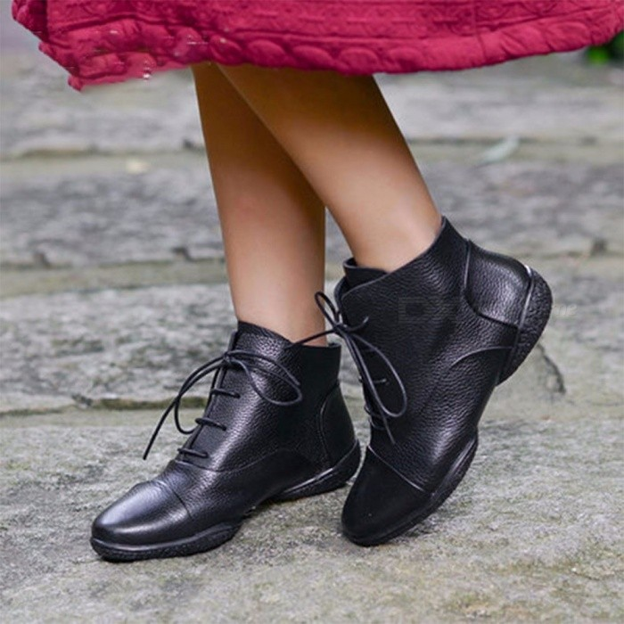 Top-Cowhide-Leather-Women-Shoes-Ankle-Boots-Casual-Comfortable-Round-Toe-Lace-Up-Flat-Martin-Boots-For-Women-40