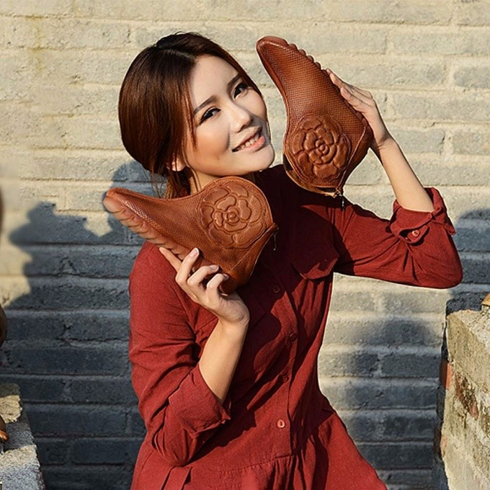 Retro-Flower-Embossed-Top-Leather-Women-Shoes-Ankle-Boots-Casual-Round-Toe-Breathable-Zipper-Flat-Heel-Shoes-For-Women-Brown40