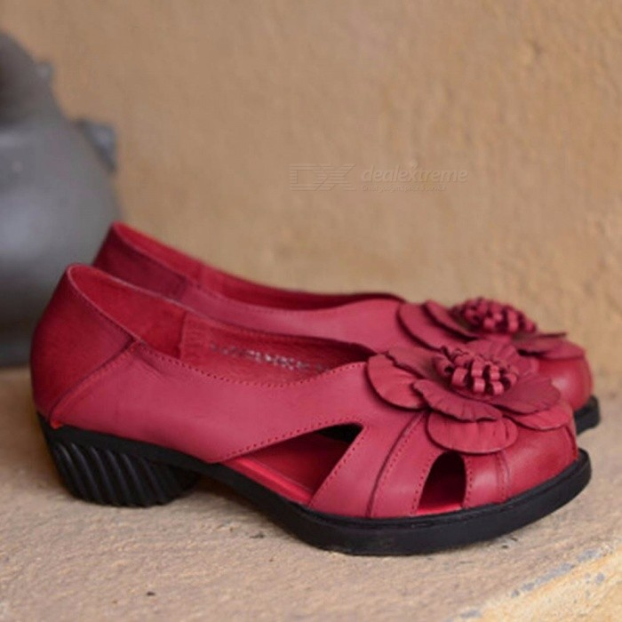 Elegant-Flowers-Decorated-Sandals-For-Women-Hollow-Out-Leather-Slip-On-Middle-High-Heel-Shoes-Red40