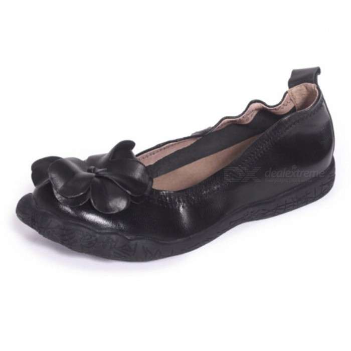 Handmade-Flower-Decorated-Top-Leather-Women-Shoes-Casual-Soft-Round-Toe-Slip-On-Flat-Shoes-For-Pregnant-Women-Black40