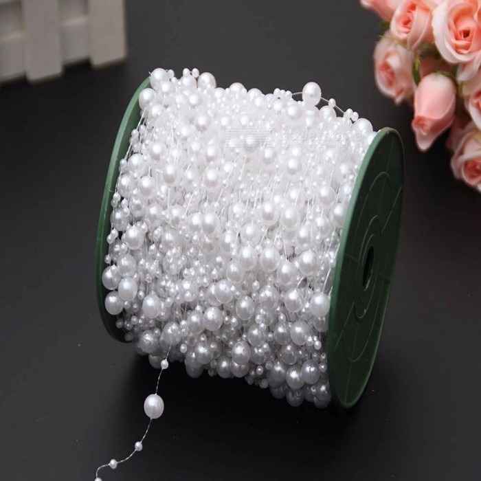 10m/Roll ABS Imitation Pearl Beads Chain Trim For DIY Wedding Party Decoration Jewelry Findings Craft Accessories Red