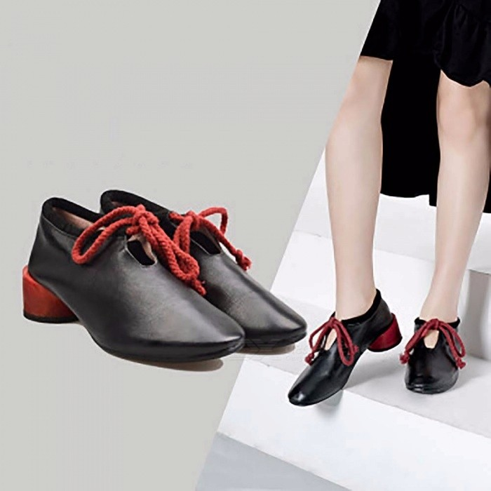 Fashion-Top-Cow-Leather-Women-Shoes-Casual-Round-Toe-Lace-Up-Low-Heel-Shoes-For-Women-Black40