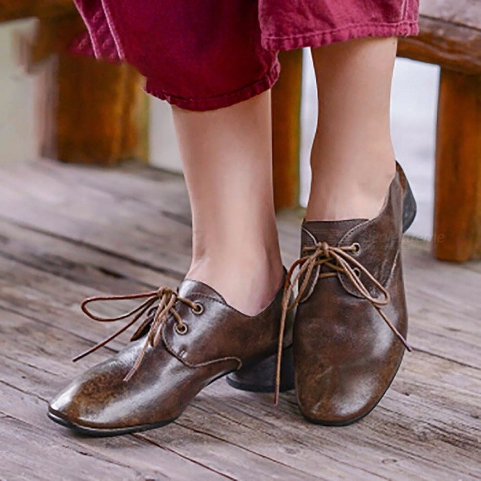 Retro Autumn Top Cow Leather Women Shoes Casual Fashion Round Toe Lace-Up Low Heel Shoes For Women Coffee/40