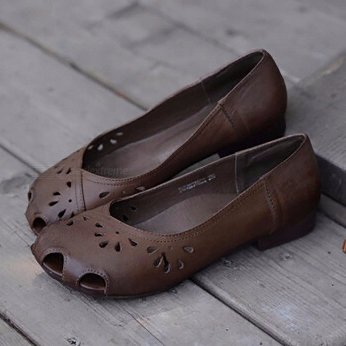 Summer-Hollow-Out-Breathable-Low-Heel-Leather-Shoes-Casual-Basic-Slip-On-Nude-Shoes-Loafers-Moccasins-For-Mother-Lady-Chocolate40