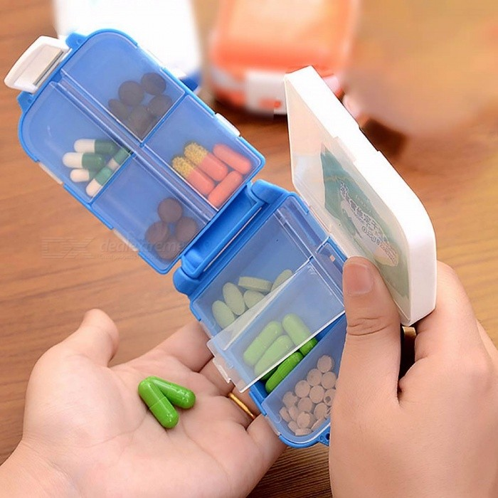 Portable 7 Days Weekly Double Plastic Pill Case Box, Drug Case Splitter, Medicine Tablet Sorter For Healthy Care Blue