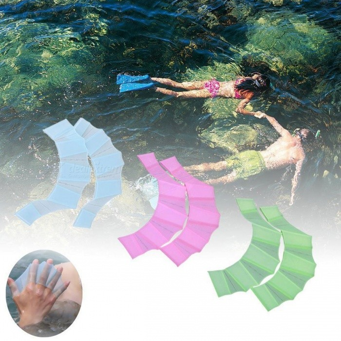 1 Pair Silicone Swimming Hand Fins Flipper Palm Finger Webbed Gloves Paddle, Improve Resistant Swim Glove Equipment Light Green/S