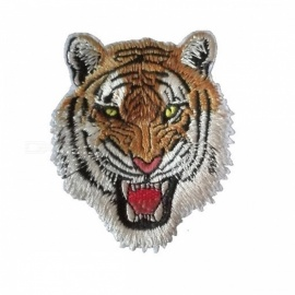 Embroidery Tiger Head Cloth Paste Patches DIY Denim Jacket Clothes Decorative Accessories Yellow