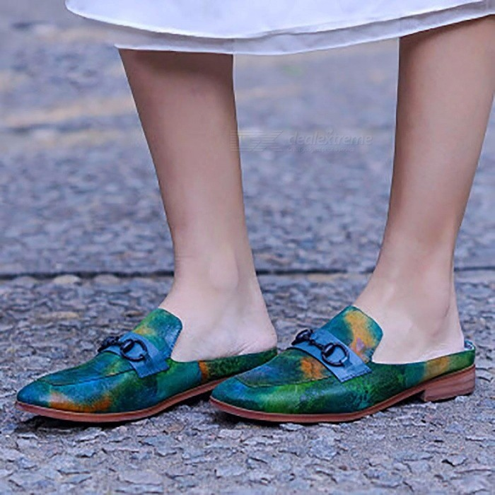 Mueller-Shoes-Womens-Genuine-Leather-Wear-Flat-Round-Toe-Half-Drag-Art-Retro-Shoes-Summer-Sandals-Green40